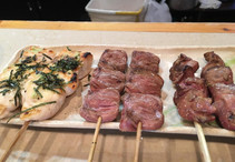 Yakitori skewer - heart, gizzard, and chicken fillet with nori seaweed