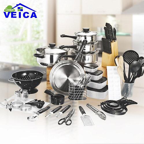Veica - Set di 80 Pezzi con batteria pentole, utensili da cucina e coltelli