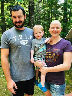 family of three camping during cancer treatment