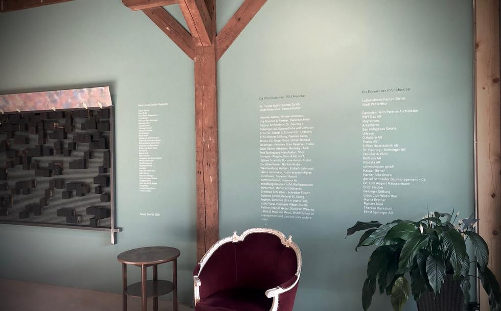 Wandbeschriftung Esse Musicbar, Winterthur