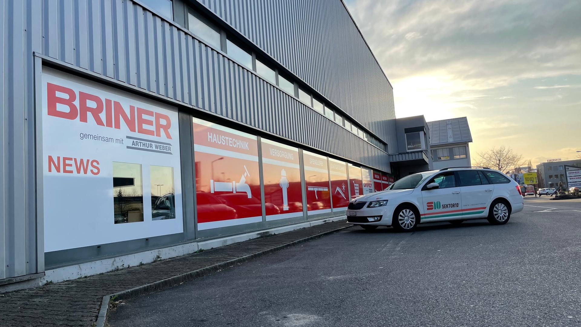 Schaufenster Beschriftung Briner, Winterthur