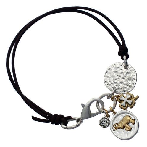 Elephant Clover Good Luck Charm Bracelet