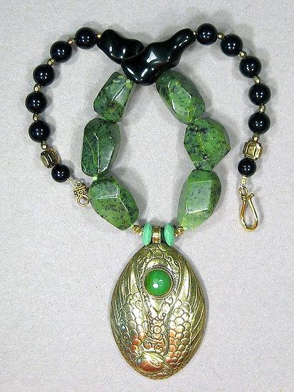 Brass and Green Jade Bird
