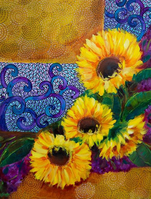 Rohini Mathur | Spring Sunburst Sunflowers And Dreamy Hydrangeas | 2D