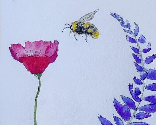 Jennifer de Mello e Souza | Poppy, Lupine and Bee