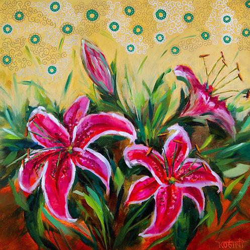 Rohini Mathur | Blossoming Stargazer Lilies | 2D