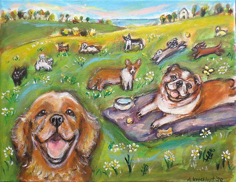 Angie Ketelhut | Happy Dogs Lounging | 2D