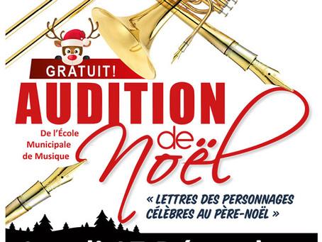 ►Audition de Noël de l'École Municipale de Musique - Lundi 17 décembre - 19h - Espace Loire
