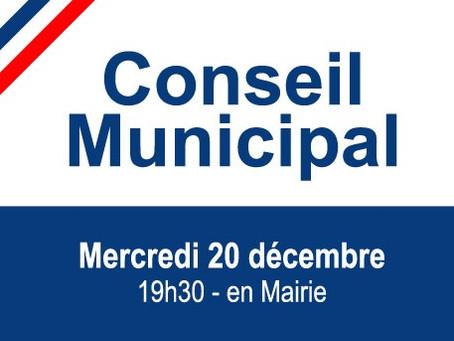 ►Prochain Conseil Municipal - Mercredi 20 décembre - 19h30 - Salle du Conseil en Mairie