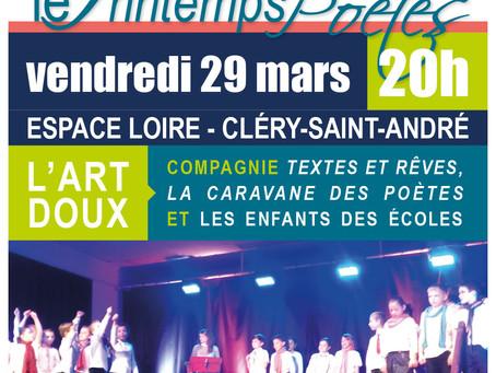 ►Le Printemps des Poètes - Vend. 29 mars - 20h - Espace Loire de Cléry-Saint-André