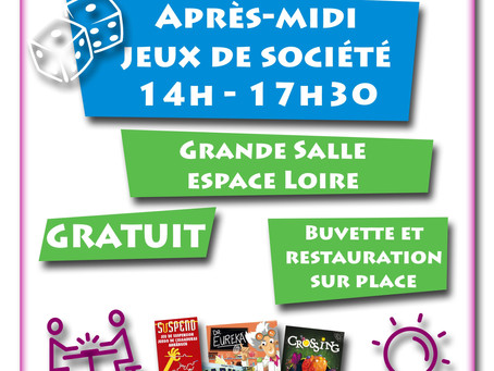 ►Après-midi Jeux de société! - Dimanche 9 février - 14h à 17h30 - Salle Espace Loire