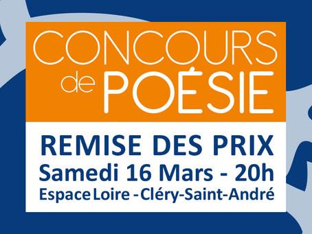 ►Remise des prix du Concours de Poésie - Sam. 16 mars - 20h - Espace Loire de Cléry-Saint-André