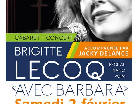 """►Soirée Cabaret - Brigitte Lecoq """"Avec Barbara"""" - Samedi 2 février - 20h30 - Espace Loire"""