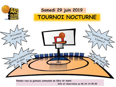 ►AAS Cléry Basket : Tournoi nocturne - Samedi 29 juin - Gymnase communal