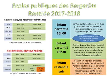 ►École publique des Bergerêts      Rentrée 2017 / 2018 : Nouveaux horaires