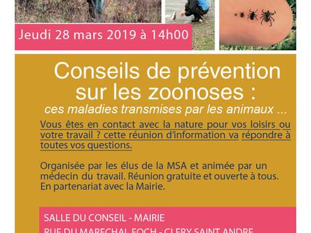 ►Les zoonoses - Réunion d'information - jeudi 28 mars - 14h - Salle du Conseil