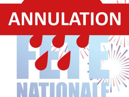 Annulation 🌧🌧🌧 Festivités du 13 & 14 Juillet