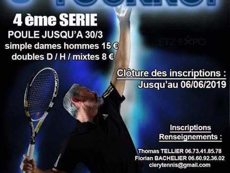 """►AAS Cléry Tennis : 3e Tournoi """"Sénior"""" - du 12 au 23 juin 2019"""