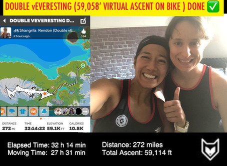 Shangrila Rendon becomes the 1st and ONLY female Double vEVERESTING Finisher (59,058' ascent)