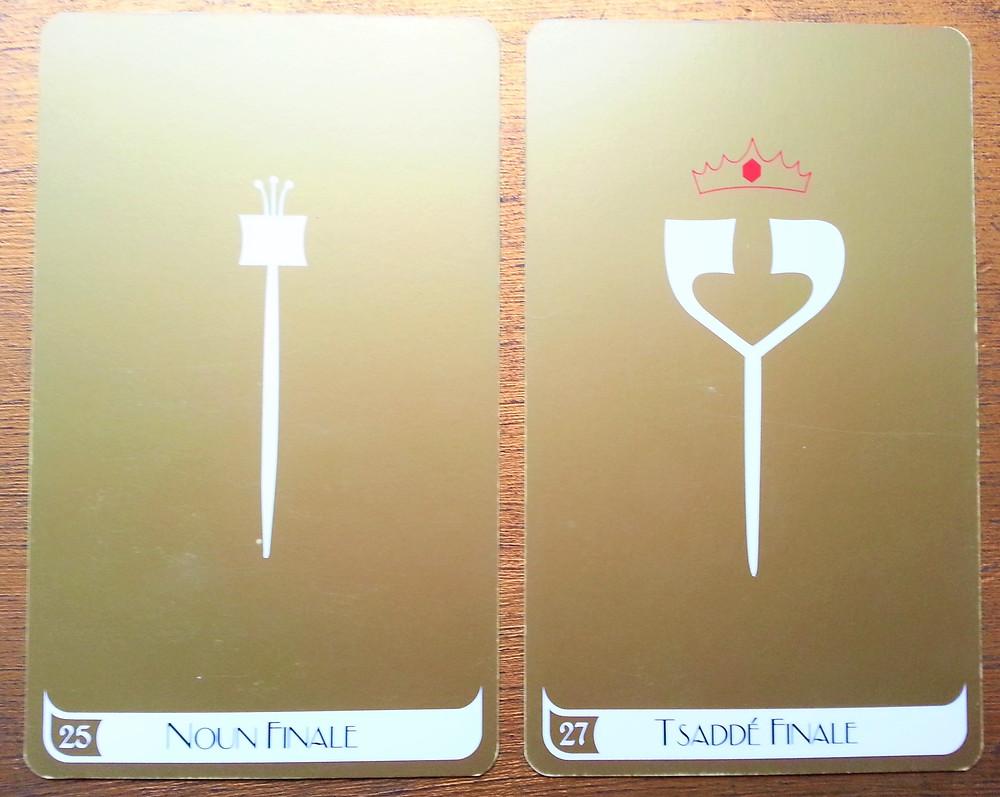 Cartes tirées du Tarot des Lettres Hébraïques de Marie Elia 25 Noun Finale, 27 Tsaddé Finale