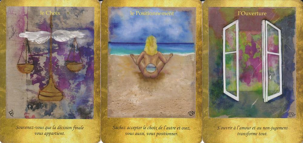 Cartes tirées du jeu Les Portes de l'Intuition de Vanessa Mielczareck et Brigitte Barberane - Le choix, le Positionnement, l'Ouverture