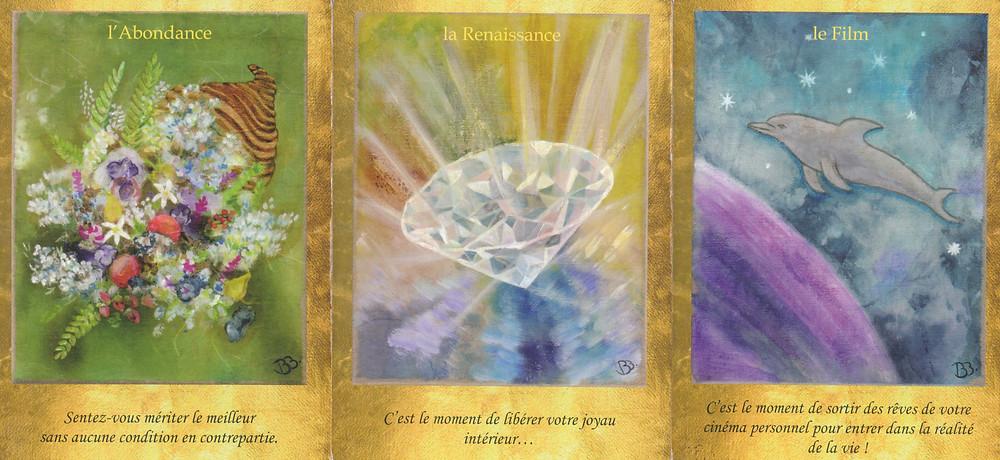 Cartes tirées du jeu Les Portes de l'Intuition de Vanessa Mielczareck et Brigitte Barberane : L'Abondance, La Renaissance, Le Film