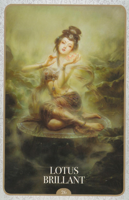 Carte de L'Oracle de Kuan Yin d'Alana Fairchild - 26 - Lotus Brillant - Energies d'Avril 2020 : La Guérison de l'Humanité (Portail du 4-4-4 et du 22-4-2020)