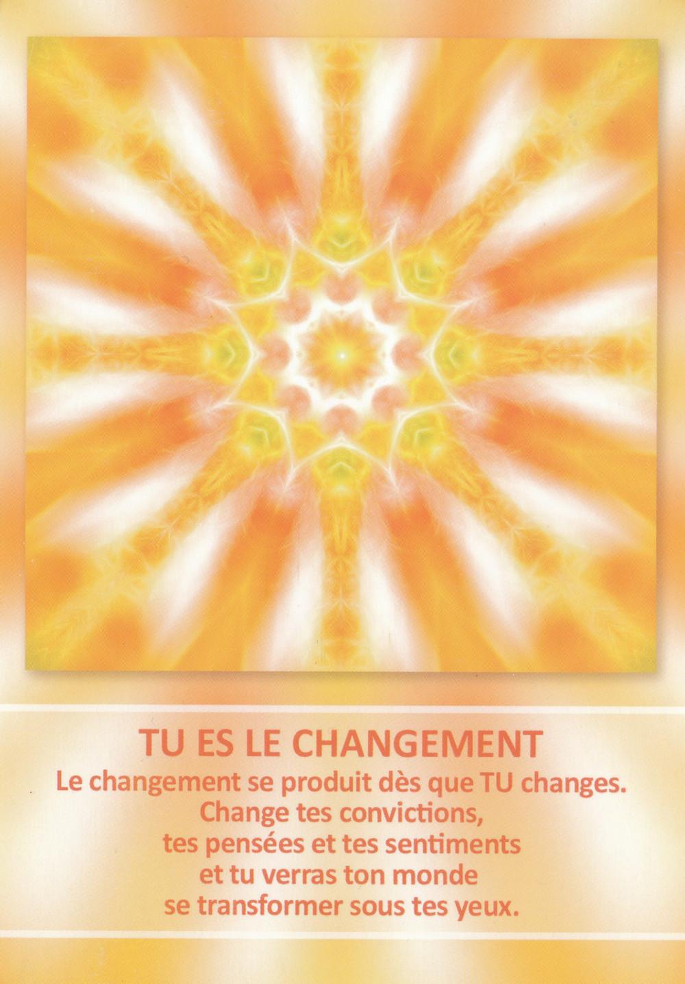 Carte de L'Oracle des Mandalas d'Énergie de Gaby Shayana Hoffmann - Tu es le changement - Conseils du 19 février 2020 : Être dans l'Ici et Maintenant pour Créer le changement