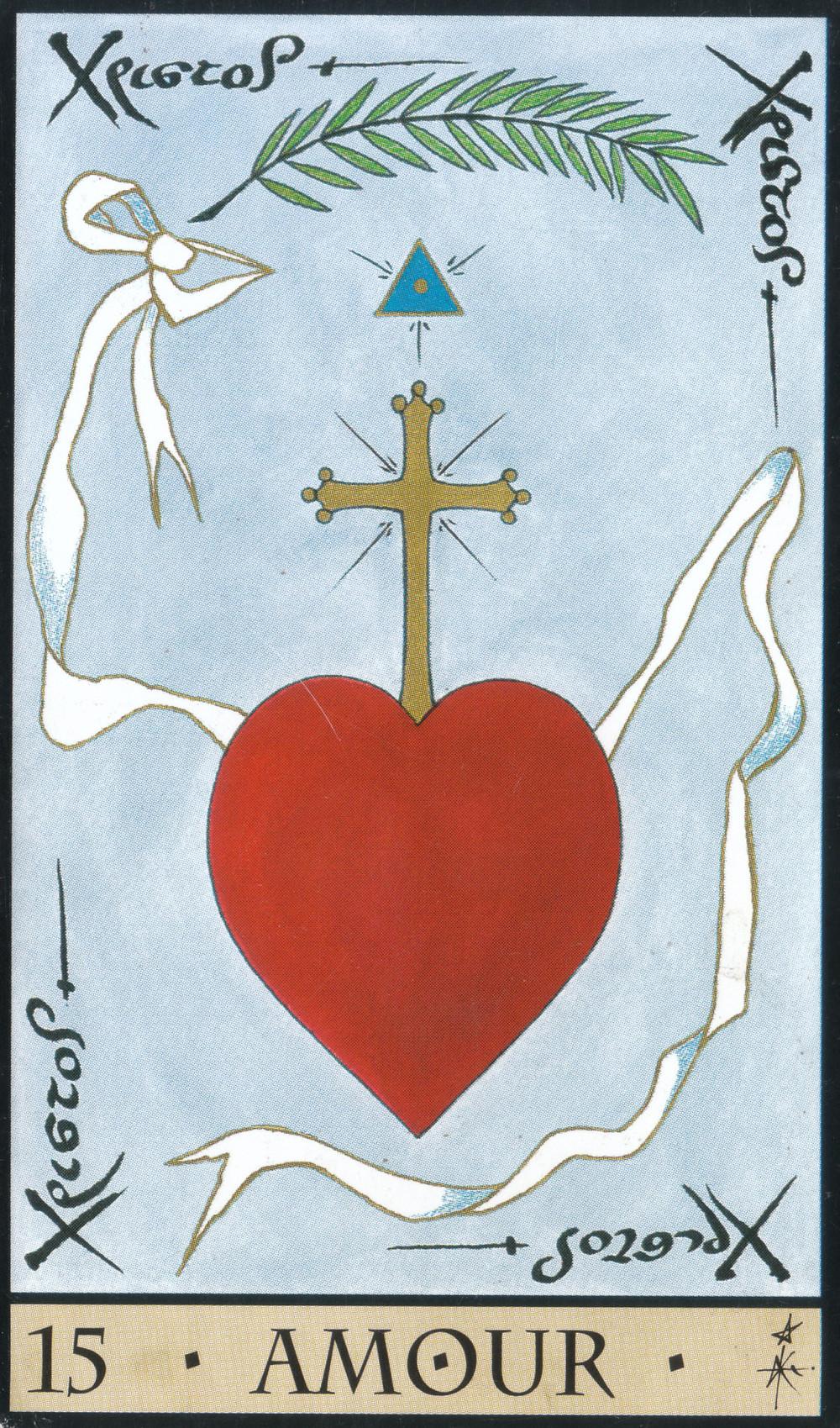 Carte tirée de L'Oracle de la Triade de Dominike Duplaa : 15 : L'Amour