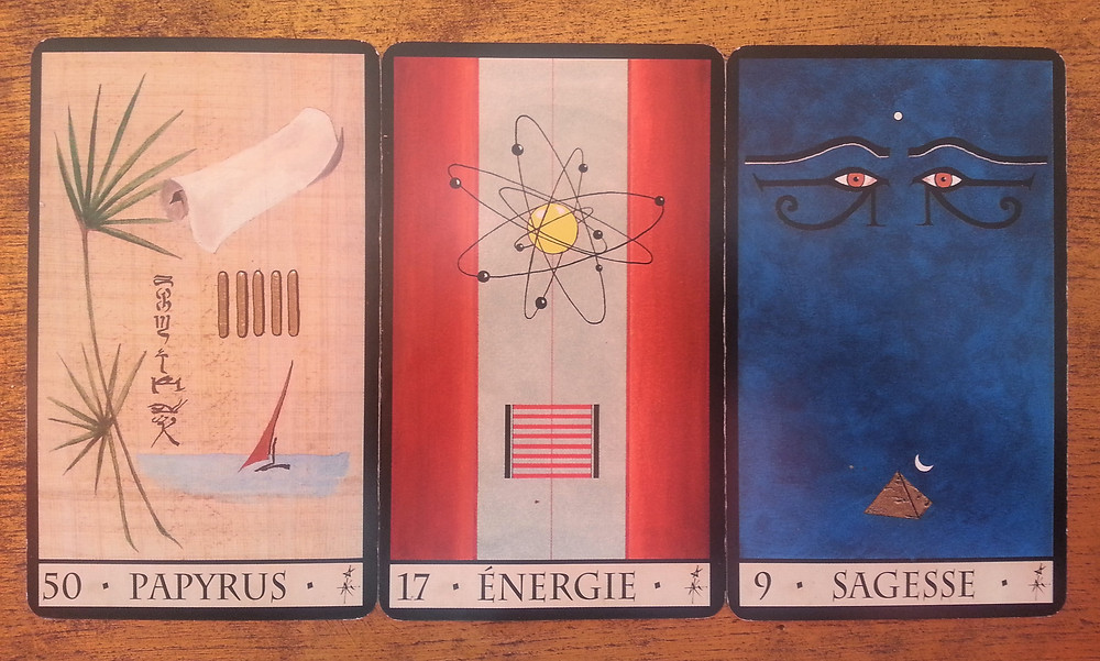 Cartes tirées de L'Oracle de la Triade de Dominike Duplaa - Papyrus - Energie - Sagesse