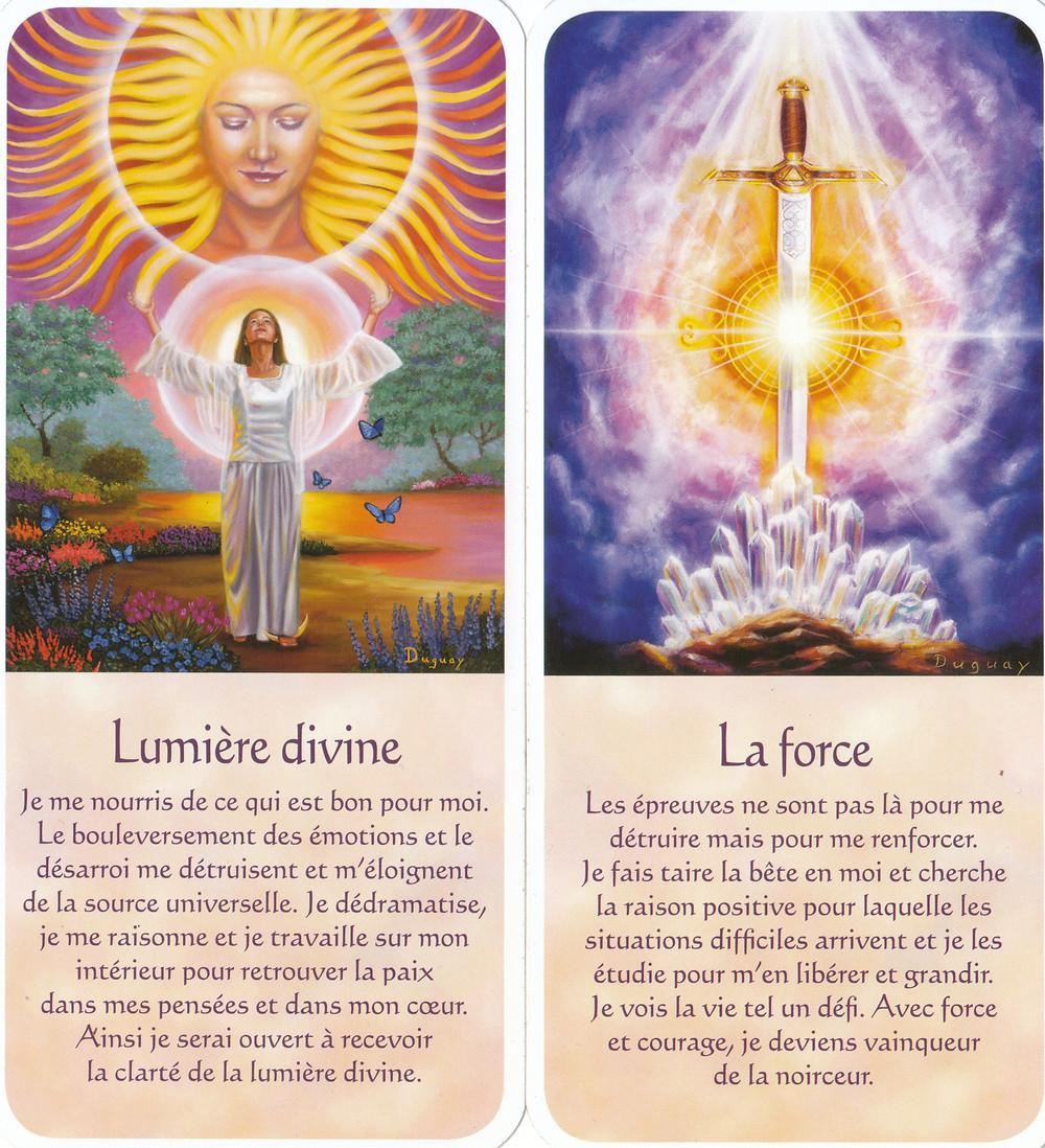 Cartes tirées de Messages d'Eveil, de Mario Duguay : Lumière divine, La force