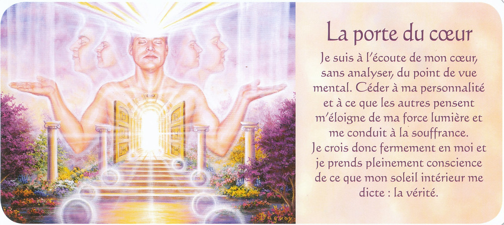 Carte de Messages d'Eveil, de Mario Duguay - La porte du coeur - Energies du 22 au 28 juin 2020 (Portails - Portail du 24 juin - Recalibrage - rééquilibrage) Observer et écouter pour aligner et exprimer