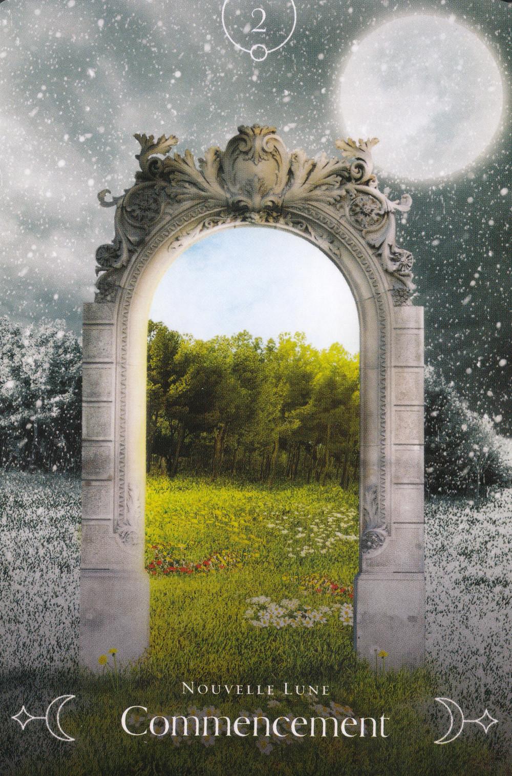 Carte de L'Oracle de la Lune de Stacey Demarco - 2 Commencement - Energies du 22-23-24 mai 2020 (Nouvelle Lune et Portail) : Direction notre Renaissance !