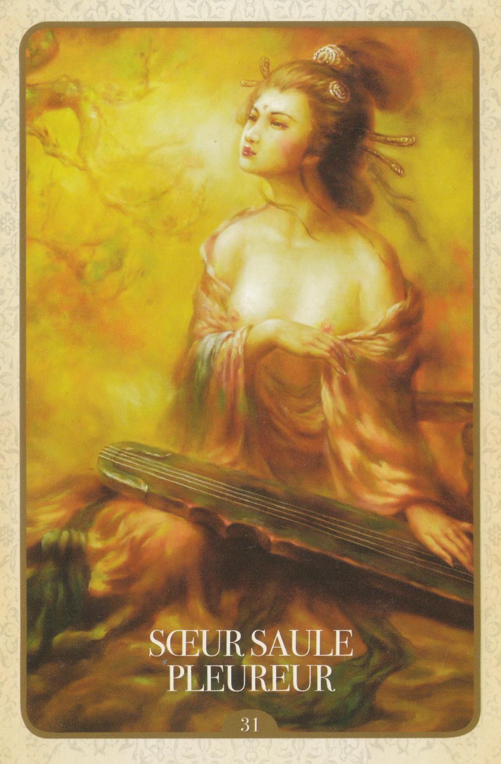 Carte de L'Oracle de Kuan Yin, d'Alana Fairchild - 31 - Sœur Saule Pleureur - Energies 4-10 mai 2020 (Portail 5-5 / Pleine Lune du 7) : Révélations et Libération de l'emprise Grâce au Pardon