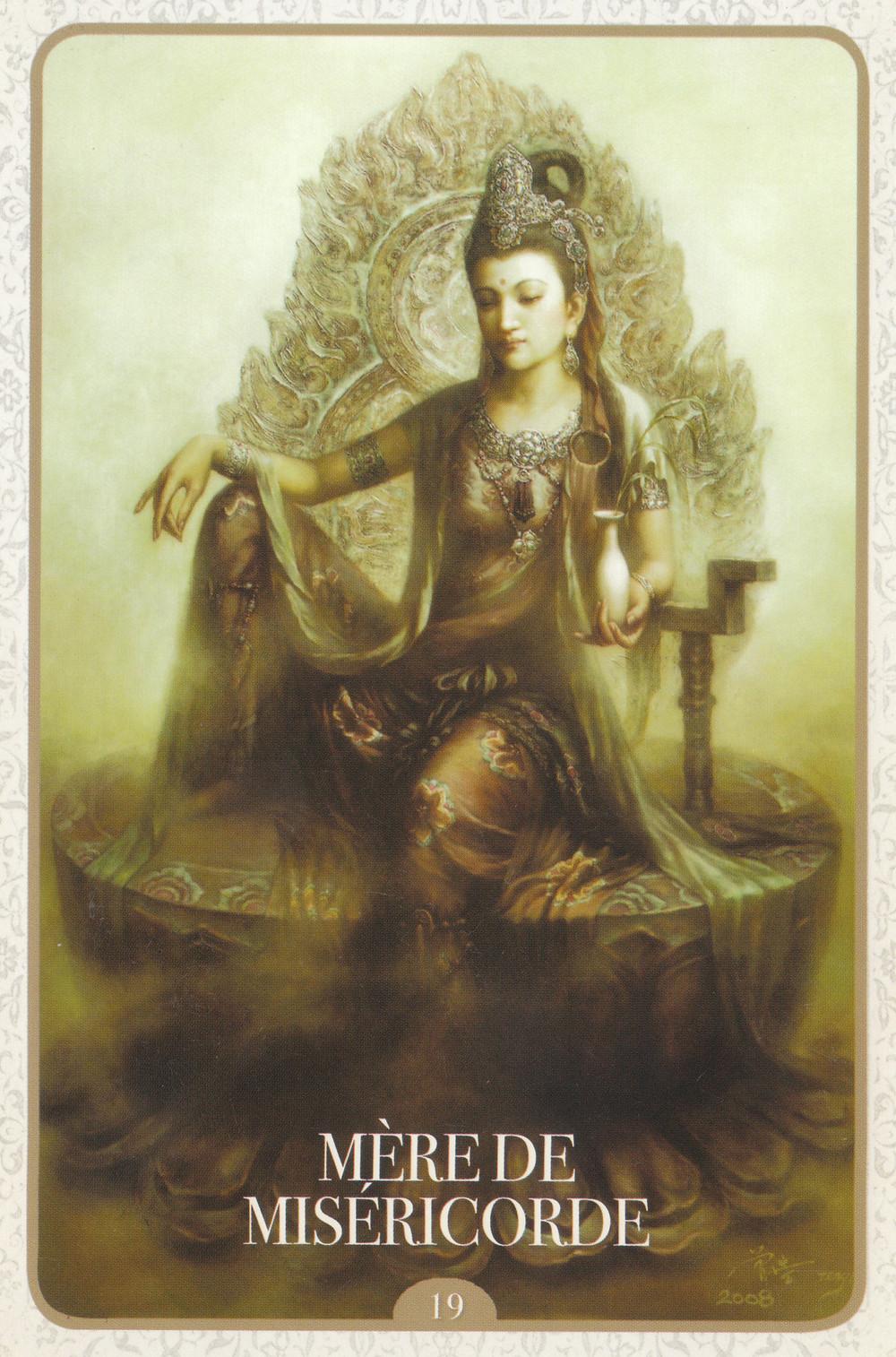 Carte de L'Oracle de Kuan Yin d'Alana Fairchild - 19 - Mère de Miséricorde - Energies du weekend du 20-21-22 décembre 2019 : On sort de l'impuissance et on Accueil l'Abondance ! (Soin énergétique collectif de Solstice d'Hiver)