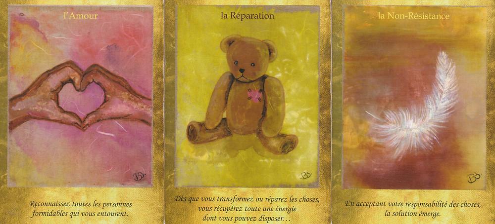 Cartes tirées du jeu Les Portes de l'Intuition de Vanessa Mielczareck et Brigitte Barberane : l'Amour, La Réparation, la Non-résistance
