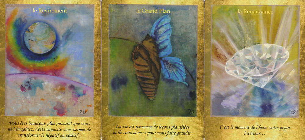 Cartes tirées de l'Oracle Les Portes de l'Intuition de Vanessa Mielczareck et Brigitte Barberane / Le Revirement, Le Grand Plan, La Renaissance
