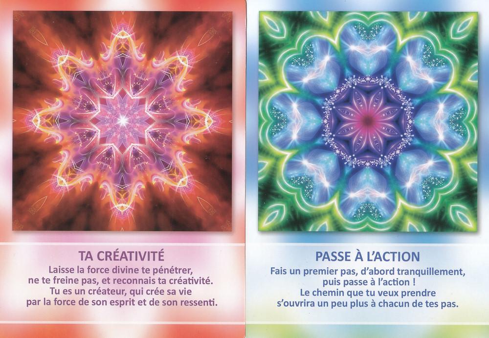 Cartes tirées de l'Oracle des Mandalas d'Énergie de Gaby Shayana Hoffmann - Ta Créativité - Passe à l'action