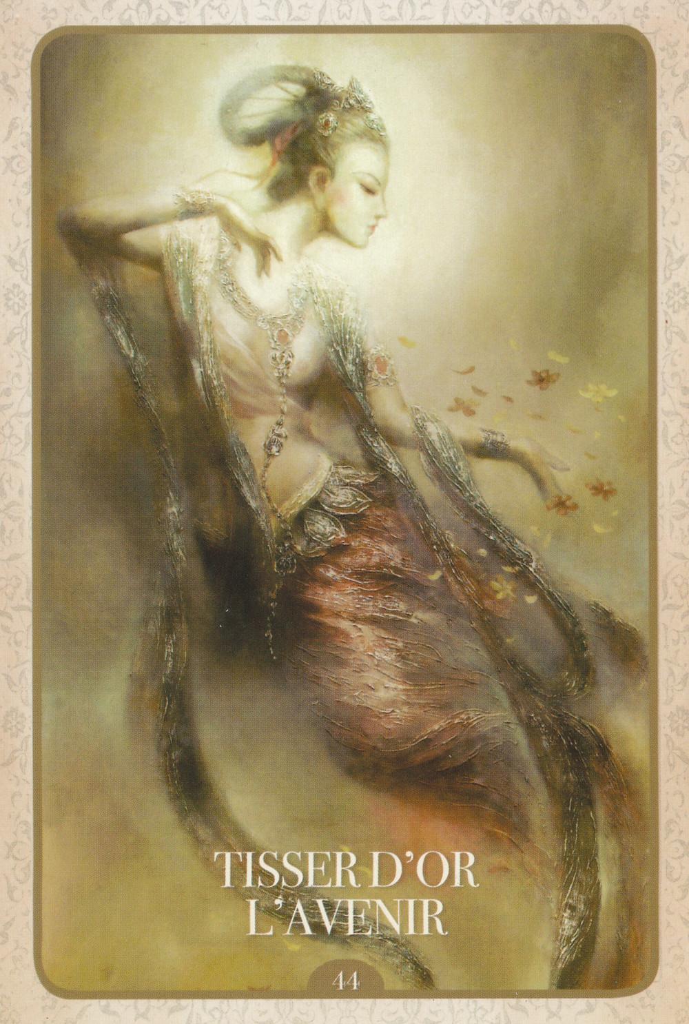 Carte tirée de L'Oracle de Kuan Yin d'Alana Fairchild Tisser d'or l'avenir - Portail du Lion du 8-8
