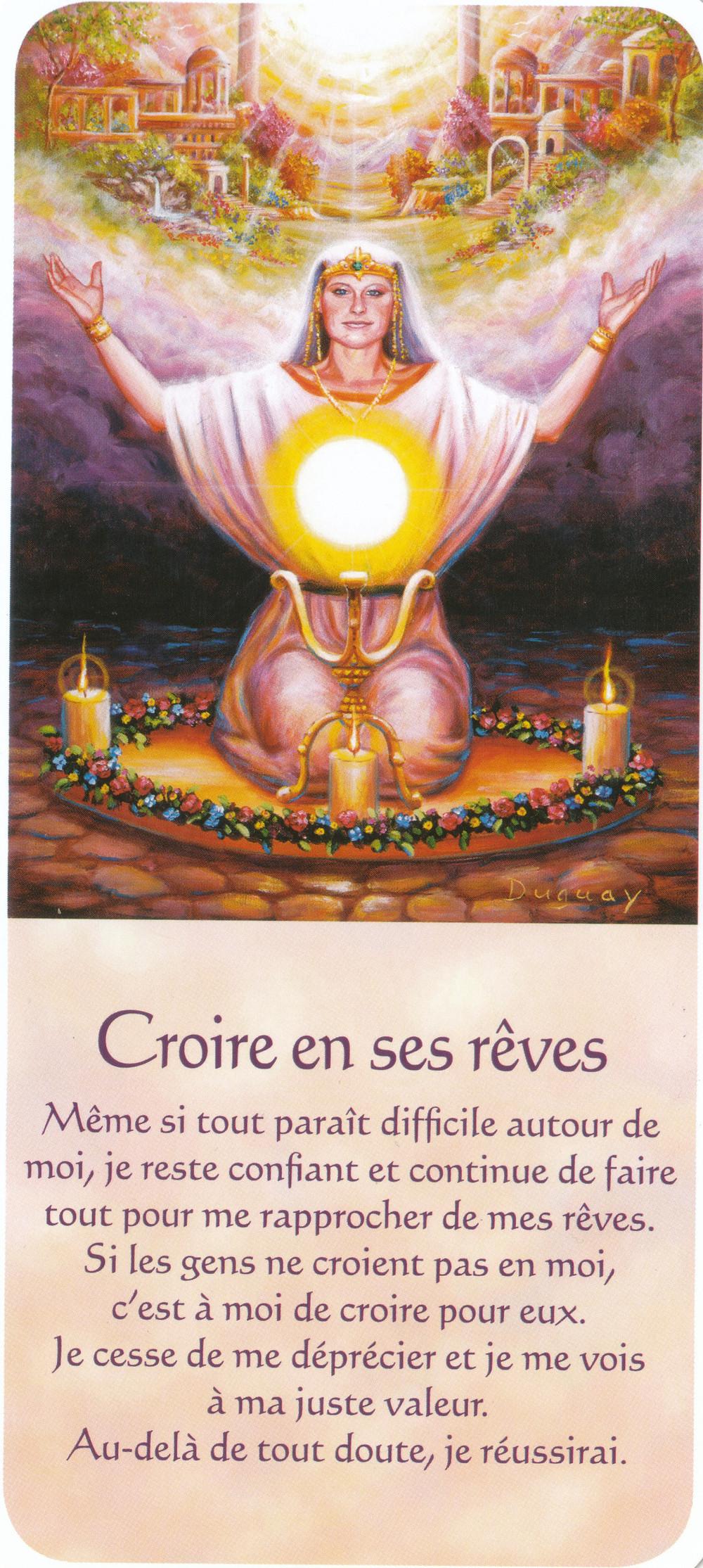 Carte tirée de Messages d'Eveil, de Mario Duguay - Croire en ses rêves