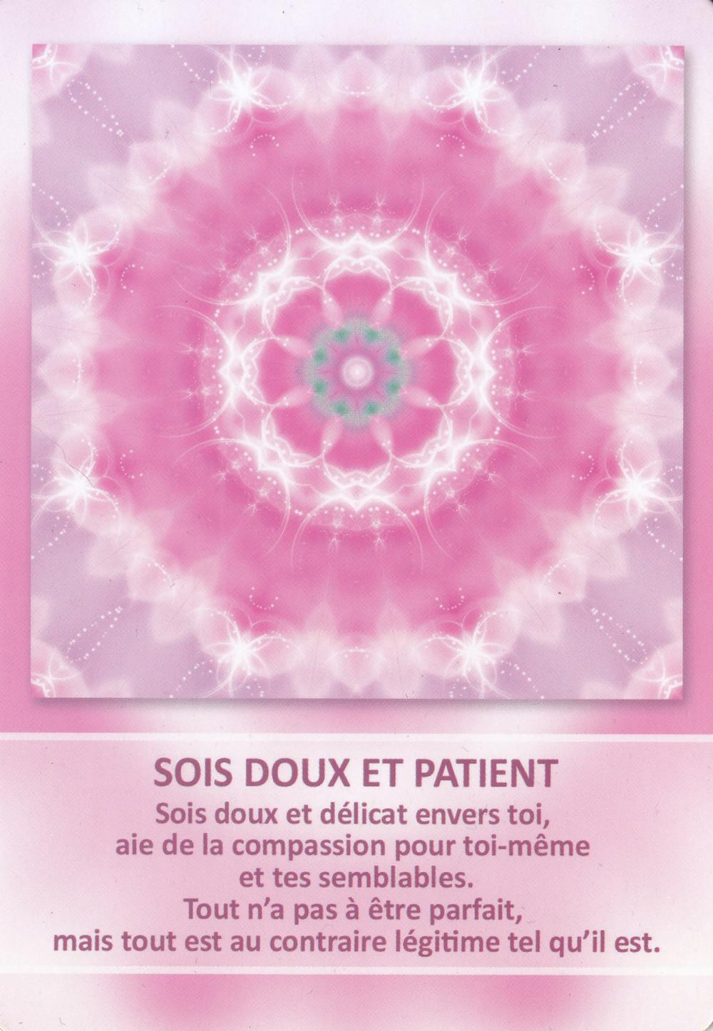 Carte tirée de l'Oracle des Mandalas d'Énergie de Gaby Shayana Hoffmann - Sois doux et patient