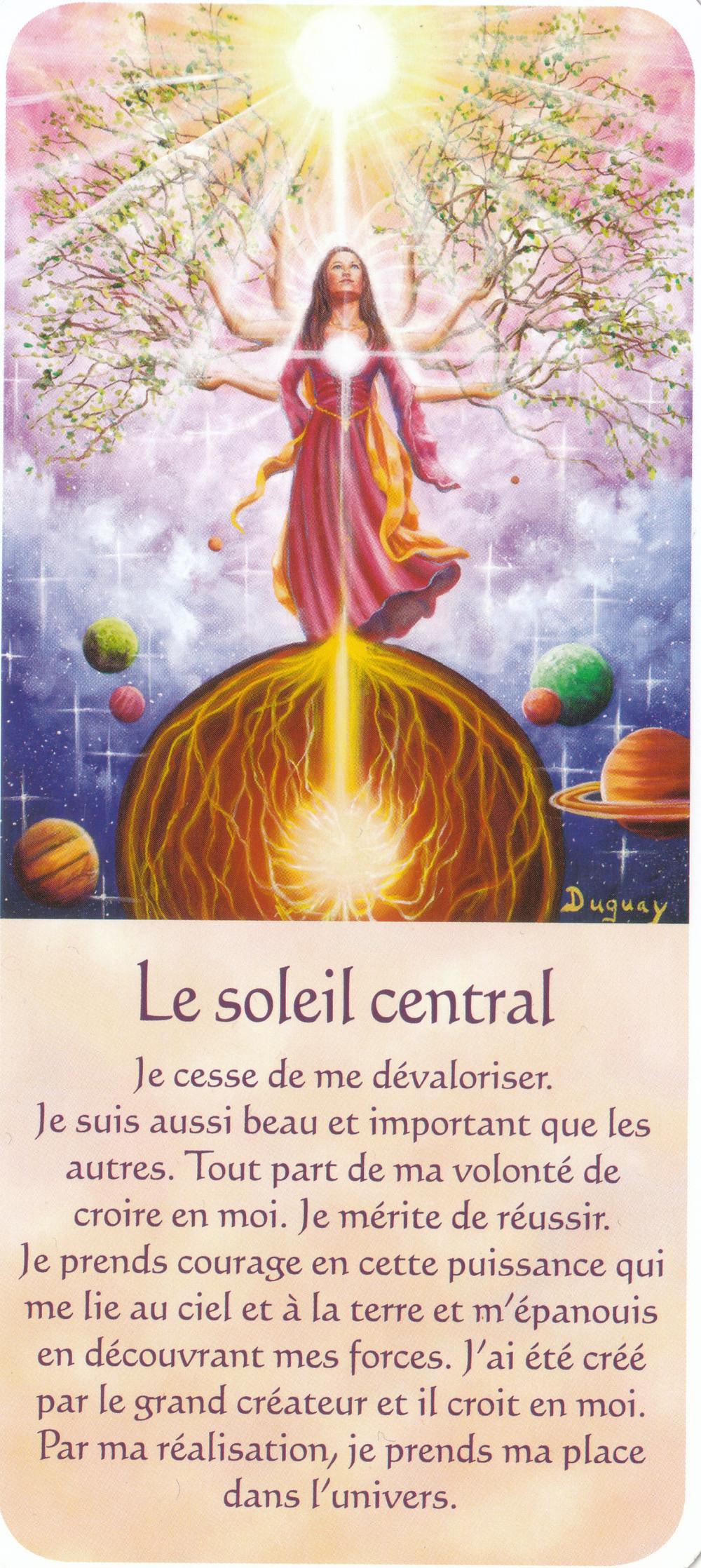 Carte tirée de Messages d'Eveil, de Mario Duguay - Le soleil Central