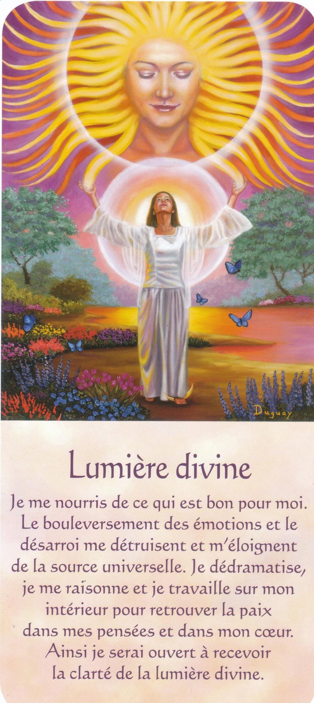 Carte tirée de Messages d'Eveil, de Mario Duguay - Lumière Divine