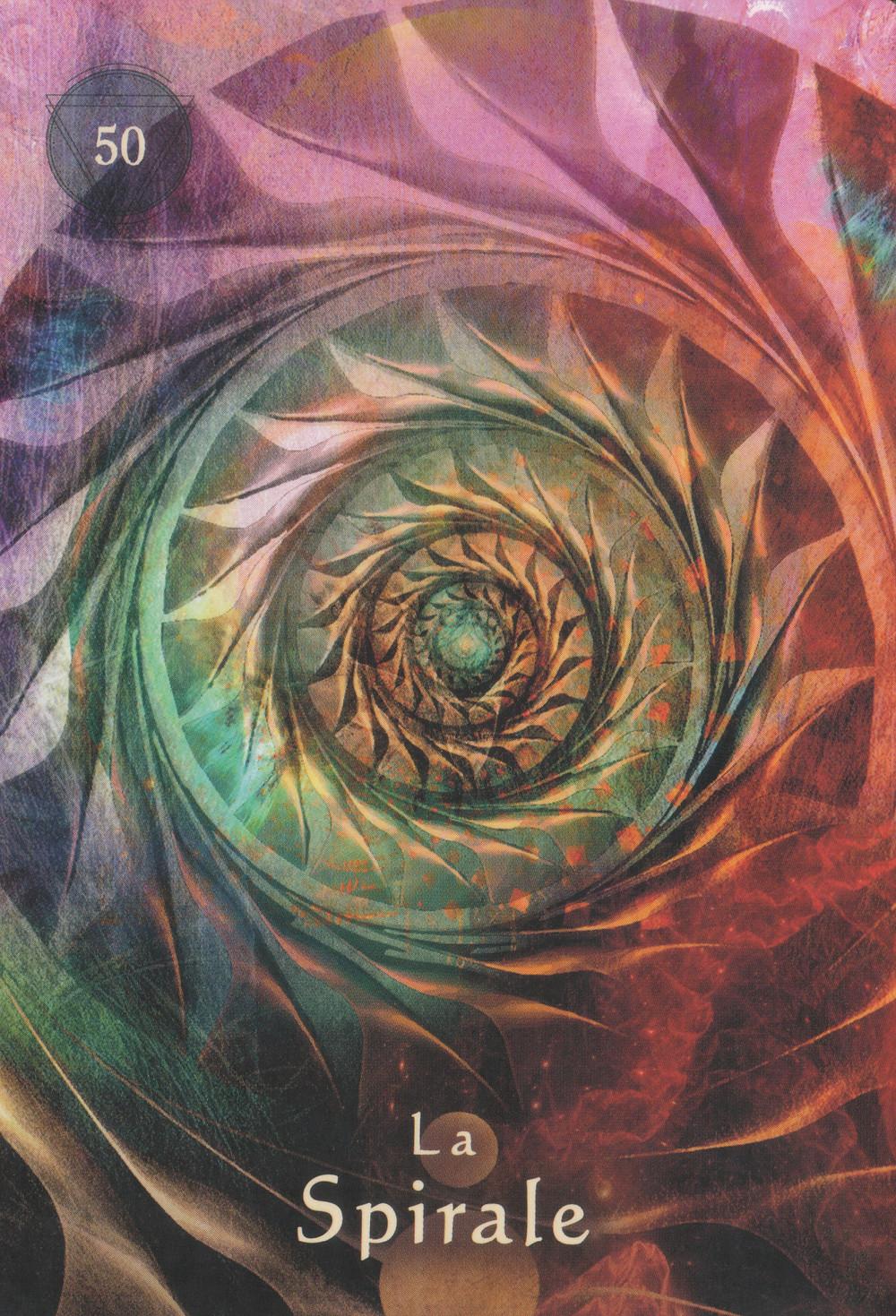 Carte de L'Oracle du Chaman Mystique d'A. Villoldo, C. Baron-Reid et M. Lobos - 50 - La Spirale - Energies du 27 avril au 3 mai 2020: L'heure du bilan : Révélations et choix d'une nouvelle direction