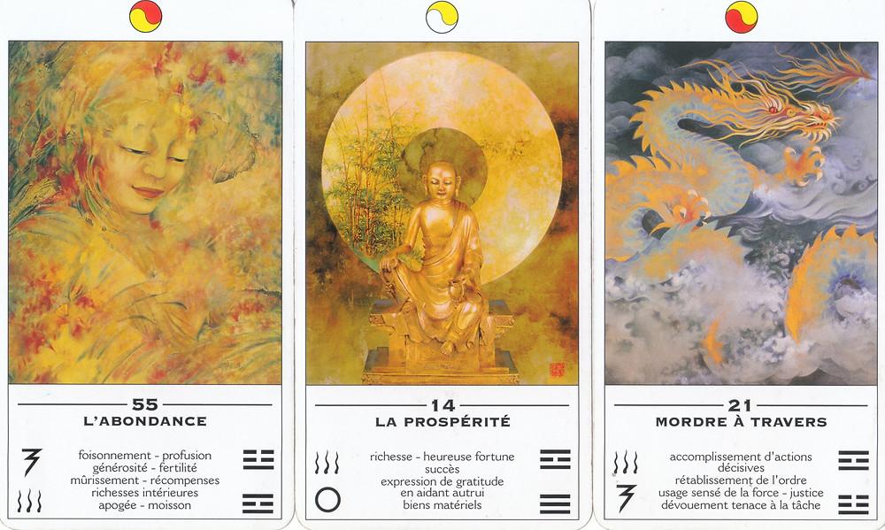 Cartes tirées de L'Oracle TAO, L'Oracle des Transformations de Ma Deva Padma - 55 : Abondance, 14 : Prospérité, 21 : Mordre à travers