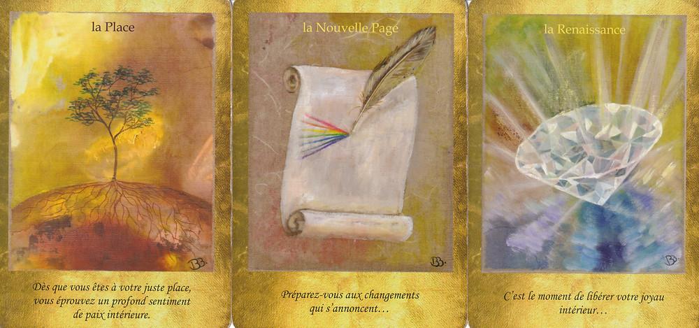 Cartes tirées du jeu Les Portes de l'Intuition de Vanessa Mielczareck et Brigitte Barberane La Place, La Nouvelle Page, La Renaissance