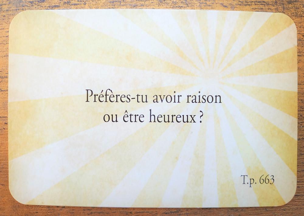 Carte tirée du jeu Les Cartes Sagesse d'Un cours en miracles - Portail du Lion du 8-8 2019 : Le coeur a toujours raison