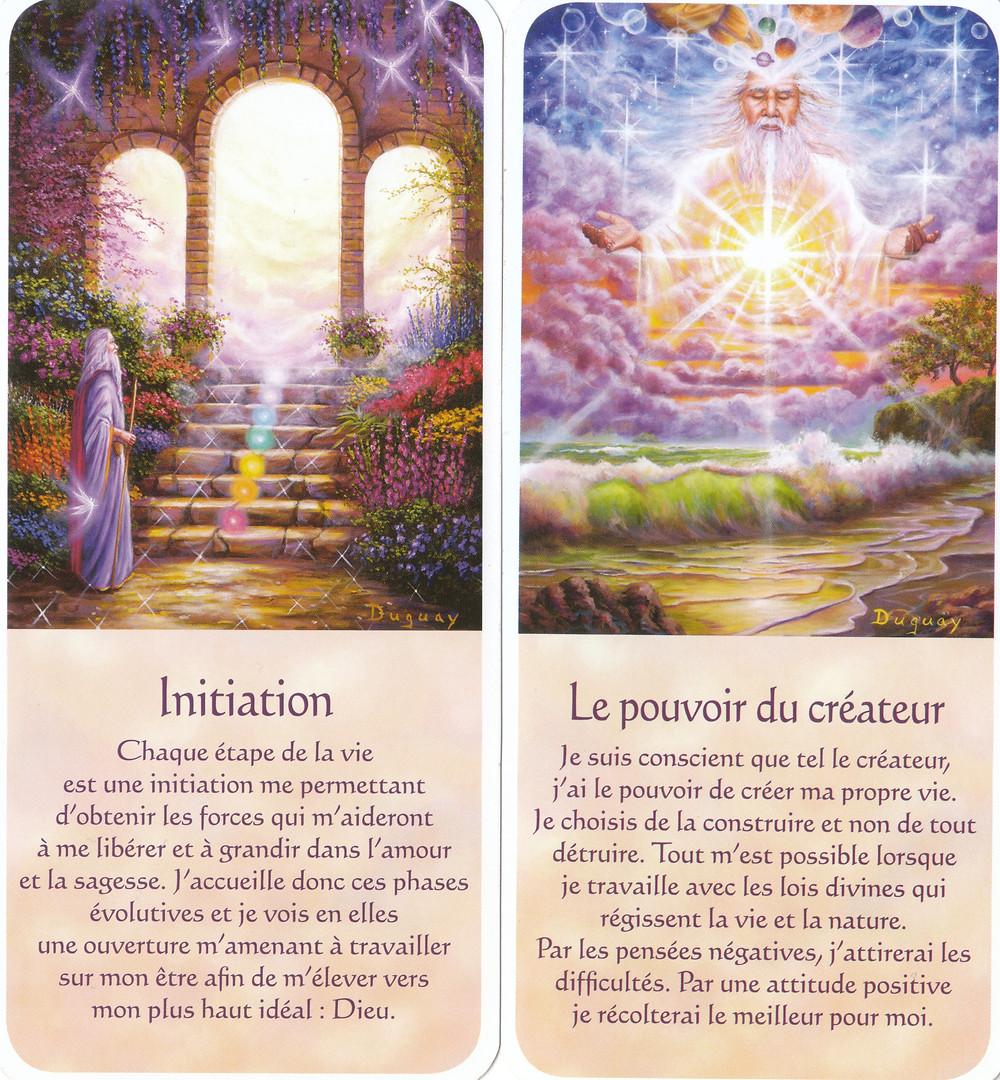Cartes tirées de Messages d'Eveil, de Mario Duguay : Initiation / Le pouvoir du créateur