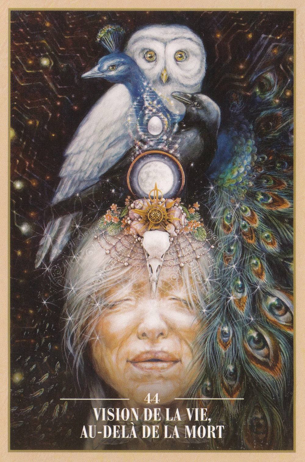 Carte de L'Oracle des Rebelles Sacrés d'Alana Fairchild - 44 - Vision de la Vie au delà de la mort - Energies du 7 au 9 février 2020 (Pleine Lune) : Voir au-delà des apparences pour garder Confiance...