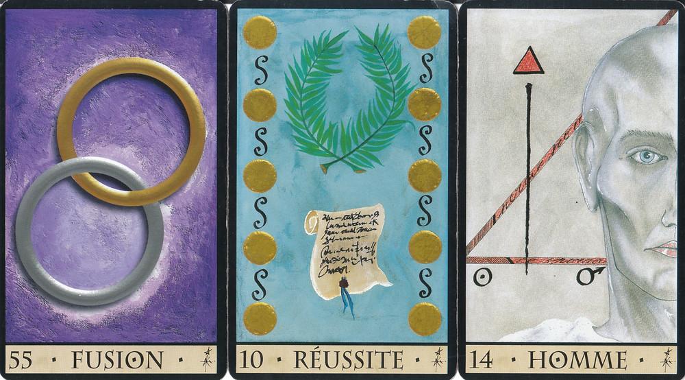 Cartes tirées de L'Oracle de la Triade de Dominike Duplaa  - Fusion - Réussite - Homme